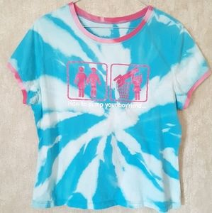 Blue bleached upcycled graphic t shirt size XL